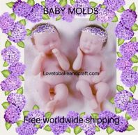 Baby mold, twin baby molds, sugarpaste Twins,  Twin baby mold, free shipping (1)